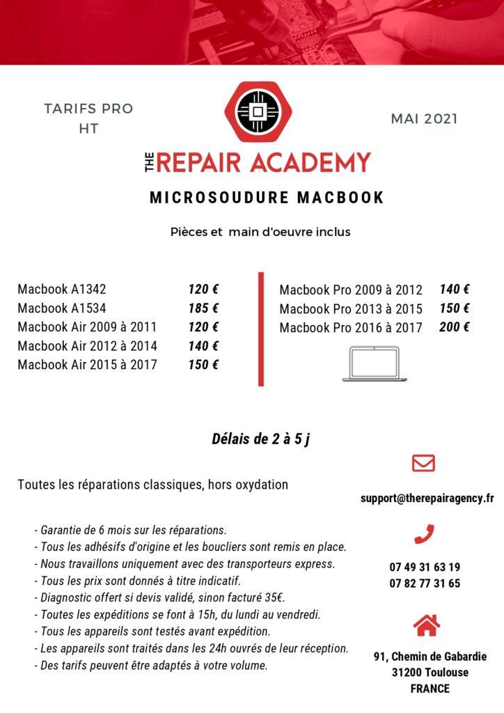 Tarif Réparation Macbook Professionnels